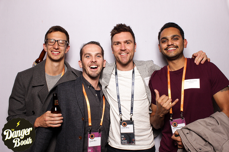 Brent Claremont, Thomas Moin, Charles McKay and Varun Bhandarkar at the international partner party in Inbound.